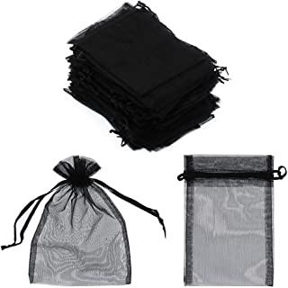 "SumDirect 100Pcs 4""x6"" Sheer Drawstring Organza Jewelry Pouches Wedding Party Christmas Favor Gift Bags (Black)"