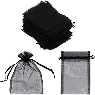 SumDirect 100Pcs 4x6 Inches Sheer Drawstring Organza Jewelry Pouches Wedding Party Christmas Favor Gift Bags (Black)