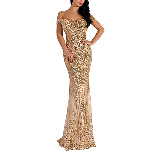 31dda4d49277 WRStore Women's Off Shoulder Sequined Evening Party Maxi Dress for Prom