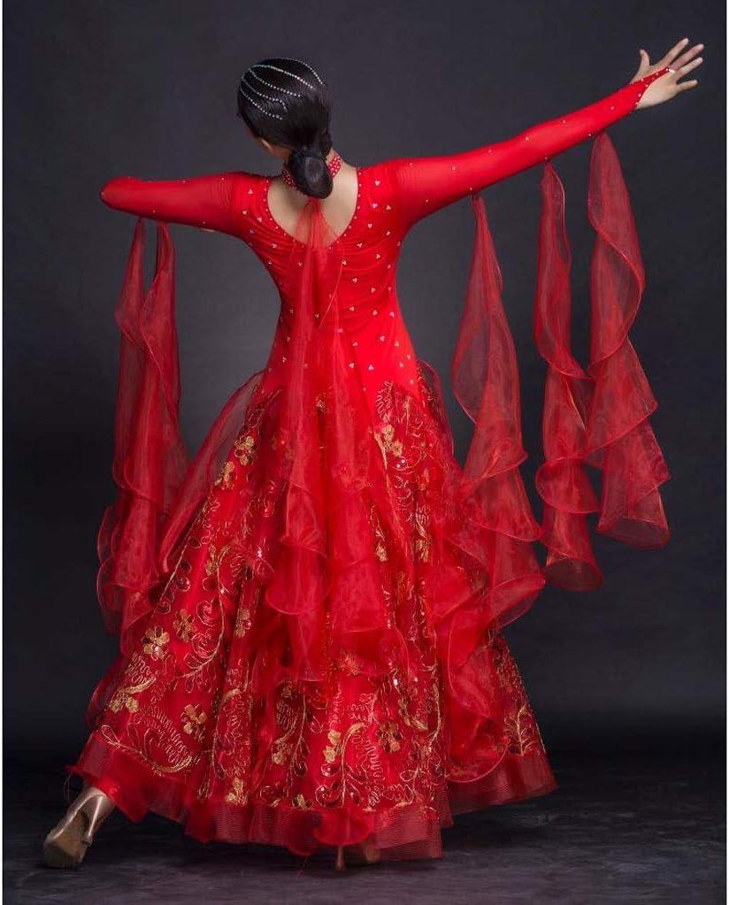 Color : Blue, Size : S Robes De Danse De Salon Danse Moderne Valse Lisse Parti Tango Latine Robe Trap/èze /À Manches Longues Pour Les Femmes