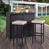 Vongrasig 3 Piece Patio Bar Set, Outdoor Wicker Bar Furniture, Rattan Bar Table w/ 2 Storage Shelves & Cushioned Bar Stools, Patio Convention Dining Set for Backyard, Lawn Garden, Porches, Poolside