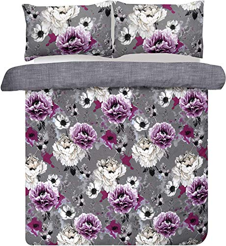 Hbno Inky Floral Blue Reversible Duvet Cover and Pillowcases Bedding Set (Double),Grey,Single