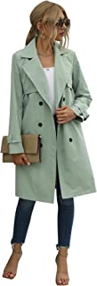 Long Trench Coat with Belt for Women Lightweight Double-BreastedTrench Coat Lady Windbreaker Spring Autumn Cloak