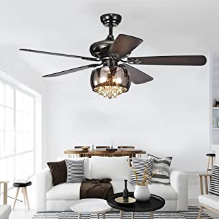 RainierLight Unique Crystal Ceiling Fan Led Light 5 Wood Reversible Blades 1 Crystal Light Kit Remote Control/3 Speed (Low,Medium,High)/Quiet Motor/Home Decoration 52Inch