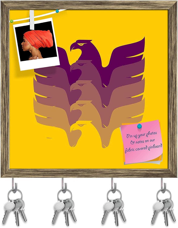 Artzfolio Soaring Eagle Key Holder Hooks   Notice Pin Board   Antique golden Frame 20 X 20Inch