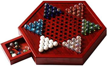 CAI- Chinese Checkers, Wooden Hexagonal Board Glass Bead Checkers, Clever Drawers,More Convenient to Store,Chessboard Layout is Compact