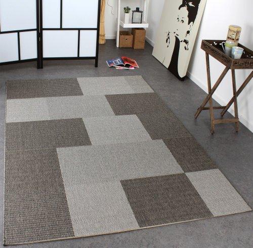 Paco Home In- & Outdoor Teppich Modern Flachgewebe Kariert Sisal Optik Grau Töne, Grösse:60x110 cm