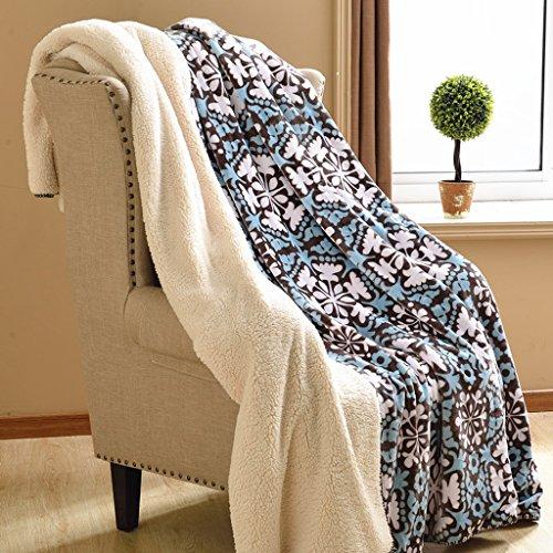 Wddwarmhome Couverture chaude d'hiver Couverture de chambre à coucher bleue couverture de lit de chambre Motif de flocons de neige couverture de table de séjour de salon avec la couverture de sofa Doux et confortable Couvertures ( taille : 200*230cm )