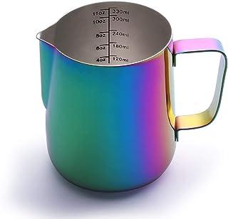 Milk Pitcher, Espresso Steaming Pitcher, Coffee Milk Frother Jug, Coffee Steaming Pitcher 350ml, with the measurement mark...