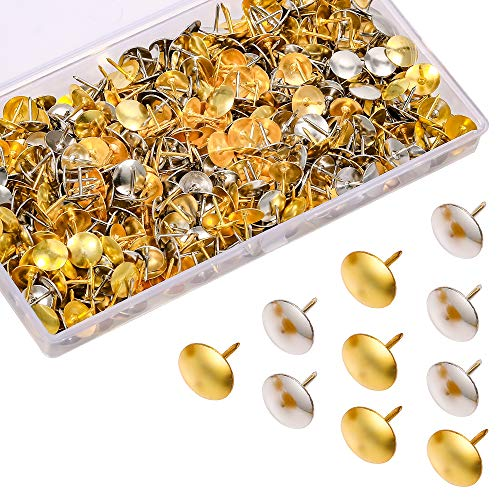 500Pcs Thumb Tacks, 3/8-inch Steel Golden/Silver Color Round Head Push Pins for Office Home Classroom Tacks for Cork Board Bulletin Board