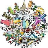 PMSMT 40 Uds Pegatinas de Aviones de Dibujos Animados Globo de Aire Caliente Cohetes de avión UFO PVC calcomanías...