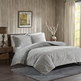 Woolrich Teton Embroidered Plush Coverlet Set Grey King/Cal King (WR13-2060)