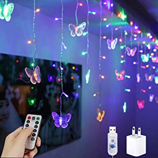 YOLIGHT USB Powered Icicle Curtain String Lights Butterfly Lights 8.2ft 80 LED Fairy Lights with Remote Control for Indoor...
