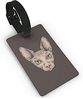 Hand Drawing Sphynx Cat Head Luggage Identification Tag Suitcase Label Bag Travel Accessories For Men Women