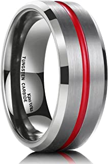 Loop 7mm Thin Red Groove Brushed Tungsten Carbide Wedding Ring Band Comfort Fit
