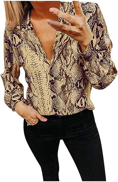 VJGOAL Camisas de Mujer Moda Casual Patrón de Serpiente ...