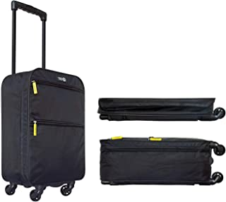 Travel Ready Softside Collapsible Carry On Cabin Luggage Suitcase with 4 wheel