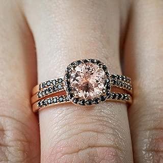 morganite black diamond ring