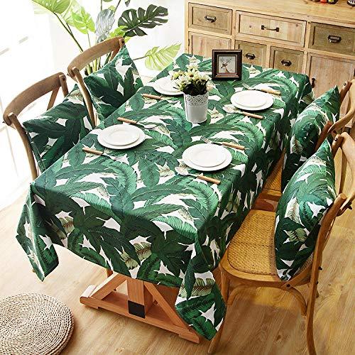 GTWOZNB Mantel, con relieves, Lavable, tamaño a Elegir, Rectángulo de algodón de Hoja Grande-Verde_100 x 140