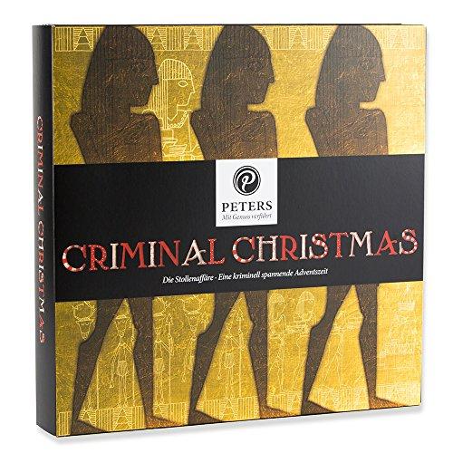 """Peters Adventskalender ²Criminal Christmas\"""" III mit Buch   Adventskalender mit Kriminalbuch   gefüllt mit köstlichen Trüffel-Täfelchen"""