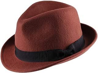 Wool Trilby Hat Felt Fedora Hats Men Women Dress Wide Brim Gangster Gatsby Caps with Black Band Halloween Costume Gift