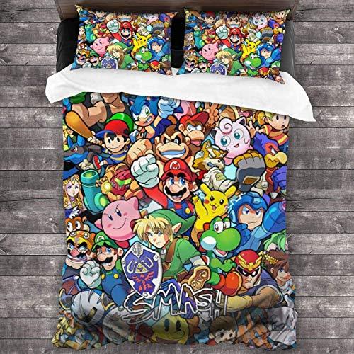Qoqon Legend of Zelda Super Mario Smash Bros Kirby Juego de Cama de 3 Piezas con 1 Funda nórdica Juego de 2 Fundas de Almohada Juego de Microfibra Cremallera Ultra Suave Colsure C1254