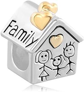 Jesse Ortega 925 Sterling Silver Family House Heart Love Charms fit Bracelet