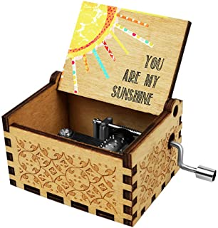 Officygnet You are My Sunshine Wood Music Box for Wife/Daughter/Son - Laser Engraved Vintage Wooden Hand Crank Music Box G...
