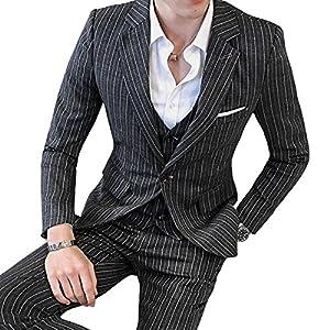 [eleitchtee] スーツ メンズ ビジネススーツ 3ピーススーツ テーラードジャケット スラックス ベスト 紳士服 結婚式 スリム ストライプ 008-dsjdc317-tz54(M ブラック)