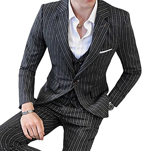 [eleitchtee] スーツ メンズ ビジネススーツ 3ピーススーツ テーラードジャケット スラックス ベスト 紳士服 結婚式 スリム ストライプ 008-dsjdc317-tz54(5XL ブラック)