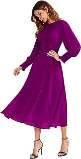 comprar comparacion SOLY HUX Mujer Vestidos Manga Larga, Coctel Vestido, Fruncido Original Vestido. sólido Damas para Fiestas Diario
