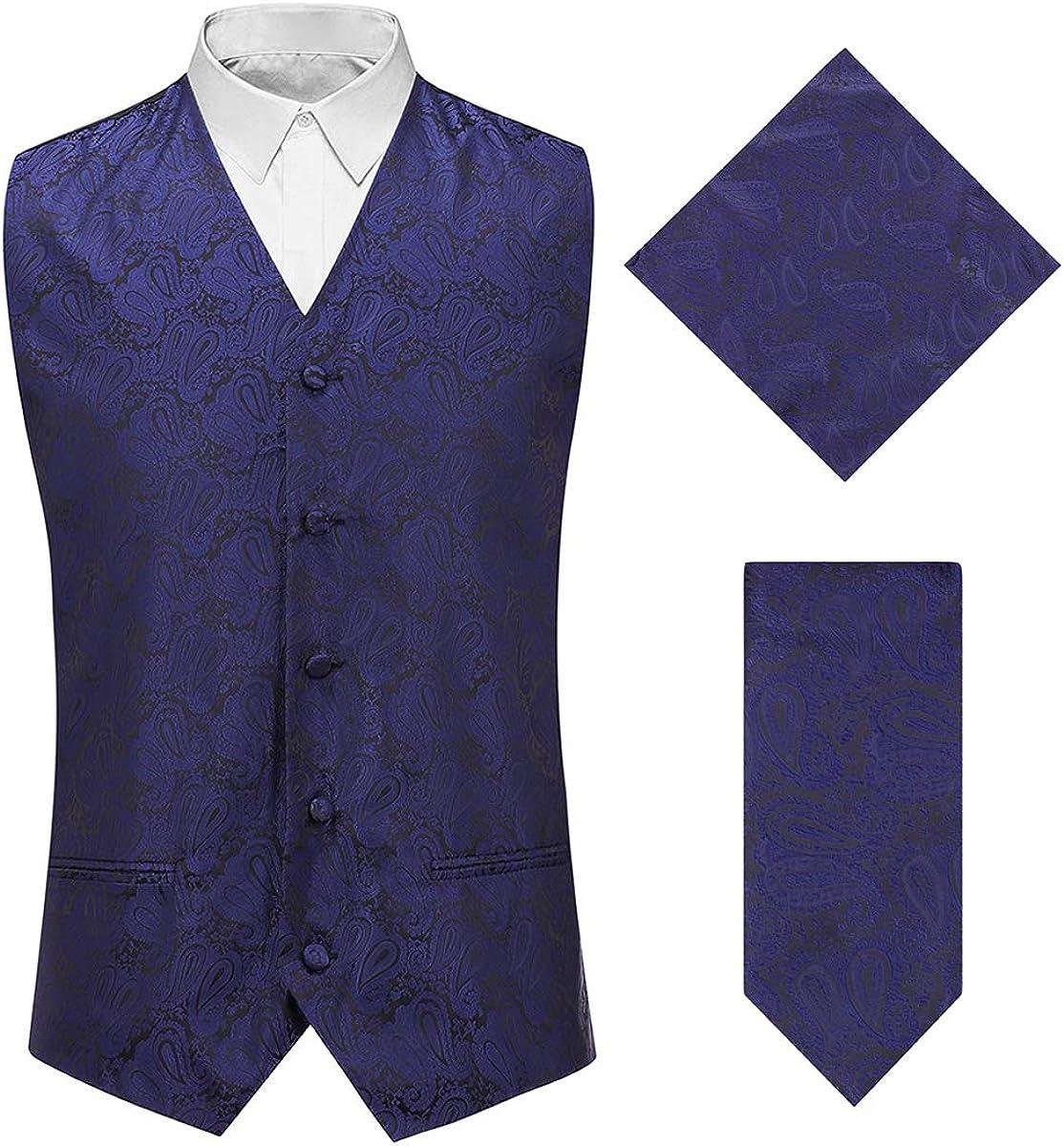 Men's 3pc Paisley Jacquard Vest Necktie Pocket Square Set for Suit or Tuxedo