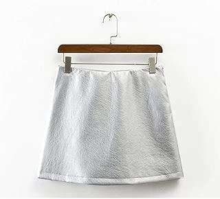 mmusty Leather Skirt Falda de Piel sintética de Color metálico para Mujer, Cintura Alta, con Forro de Color Brillante, Faldas Cortas