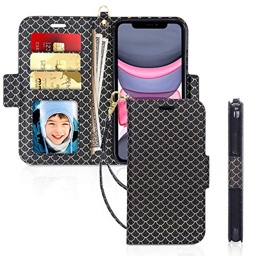 """Skycase iPhone 11 Case 6.1"""",[RFID Blocking] Handmade Flip Folio Wallet Case with Card Slots and Detachable Hand Strap for Apple iPhone 11 6.1"""" 2019,FS Black"""