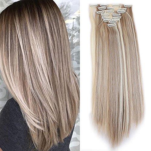 """TESS Haarteil Clip in Extensions wie Echthaar Ombre Kunsthaar günstig 8 Tressen 18 Clips Haarverlängerung Glatt Honigblond/Blond 26""""(66cm)-140g"""