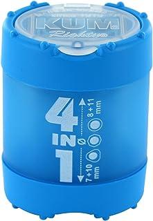 KUM AZ102.83.19-B Behälterspitzer 4in1 K4 B aus Kunststoff, Click Clack Staubverschluss, 1 Stück, blau