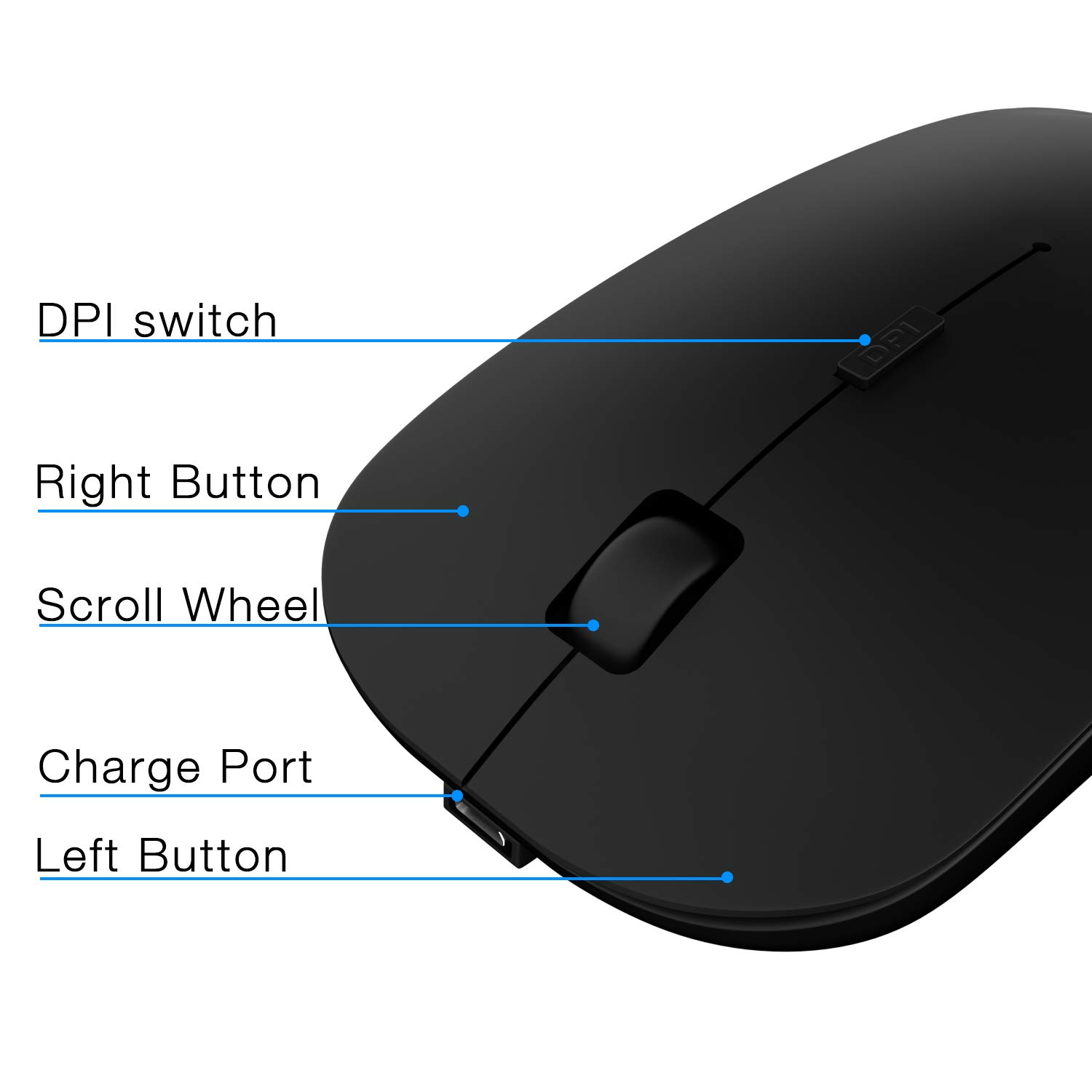 Mac OS Black Chrome or Android Compact Wireless Mouse with 10 Month Battery Life Works with Any Bluetooth Enabled Computer DEI QI Bluetooth Mouse Laptop or Tablet Running Windows