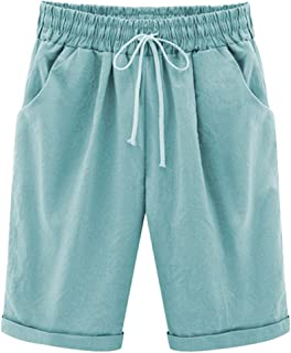 Linemoon Women's Bermuda Shorts Casual Relaxed Fit Cotton Gym Shorts with Pockets