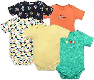 ZEVONDA Baby Boys Girls Bodysuit - Pajamas Set Long Sleeve/Short Sleeve/Romper Sleepsuit Newborn Outfits 100% Cotton for 0-18 Months, Pack of 3/5