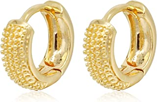 Gold Hoop Earrings,18K Gold Plated Rounded Hoops Earrings for Women