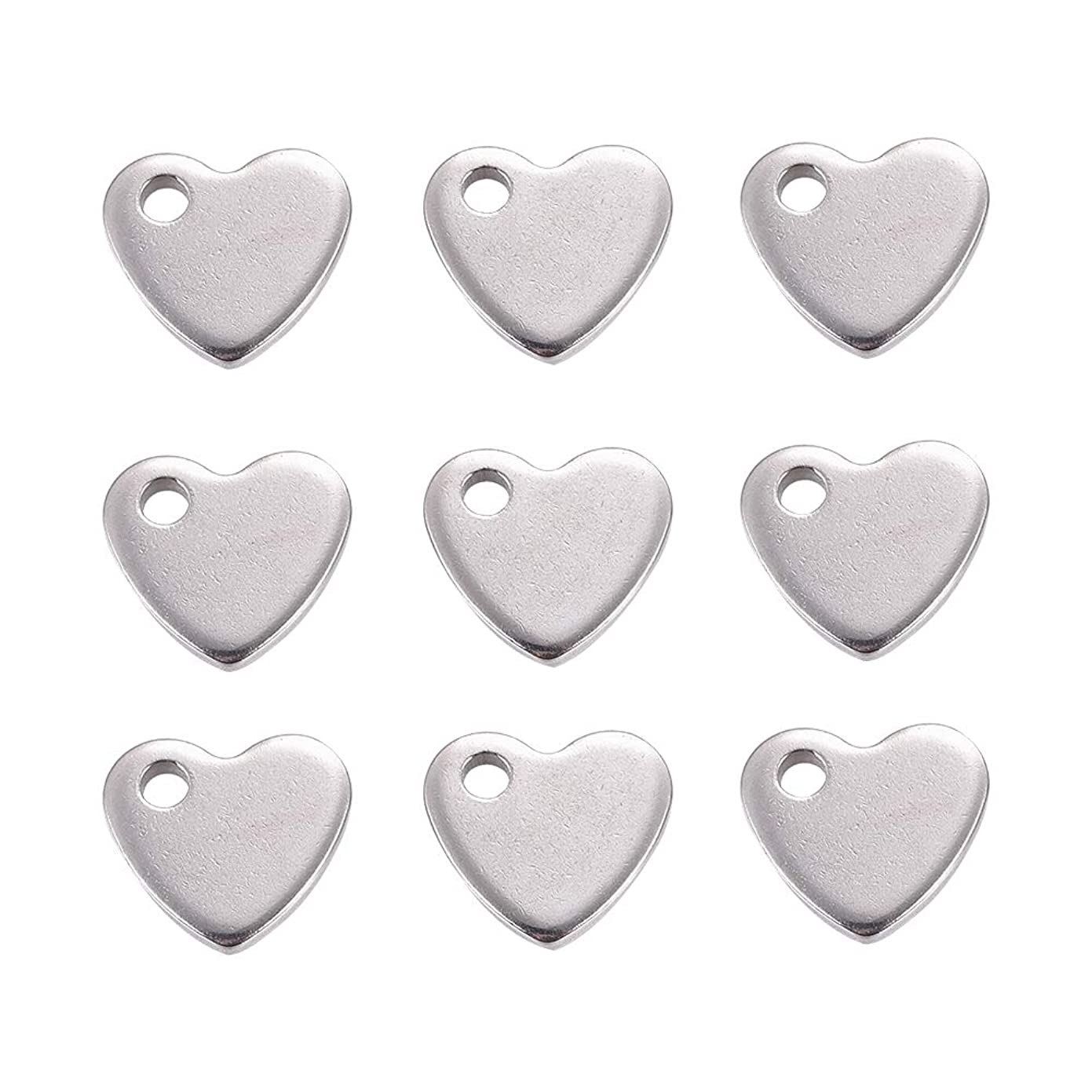 DanLingJewelry 304 Stainless Steel Blank Stamping Tags Heart Charm Pendant for DIY Crafting Necklace Bracelet Jewelry Findings(Stainless Steel Color-100pcs,10 x 9 x 1.5mm,Hole:2mm) uq31842494