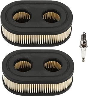 Harbot (Pack of 2 Oval Air Filter with Spark Plug for Troy-Bilt TB110 TB130XP TB410XP TB115 TB200 TB230 TB330 TB370 TB380 TB380ES MTD Yard Machines Murray Craftsman Walk-Behind Lawn Mower