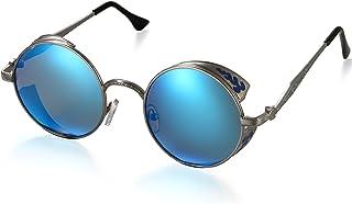 Gafa de Sol Polarizada contra UV400 Punk Rock Sunglasses Lente Redonda Protección de Ojos para Golf, Conducción, Viaje, Playa y Actividades Exteriores para Hombre Mujer (Azul)