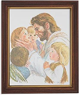 Gerffert Collection Jesus Christ with Children Framed Portrait Print, 13 Inch (Wood Tone Finish Frame)
