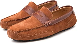 Men's Suede Leather Lightweight Breathable Rubber Casual Loafers Wear-Resistant Fashion Business Soft Delicate Flats