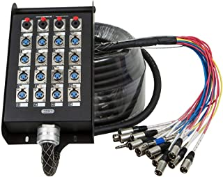 Monoprice 20-Channel Snake & 16 XLR x 4 TRS Stage Box - 100 feet With 16 Downstream And 4 Upstream Connections