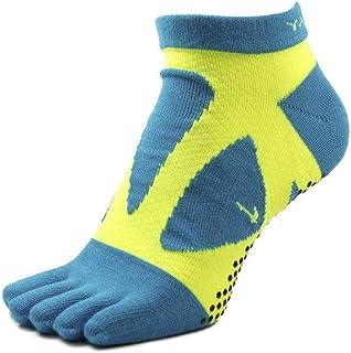 Yamatune, Spider Arch Compression 5 Toe Short Socks with Non-Slip Dots, Calcetines con dedos separados, M 39-41 Turquesa/Amarillo