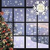 heekpek 492 Piezas Pegatinas Navidad Grandes para Ventanas Pegatina Navidad Escaparate Extraíbles PVC Navidad Pegatinas Electroestaticas Navidad Pegatinas Copos de Nieve