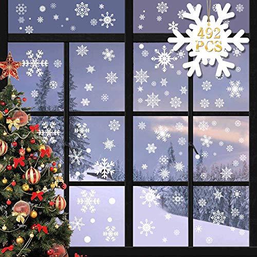 heekpek 492 Schneeflocken Fensterbilder Weihnachten Selbstklebend Fensterdeko Weihnachten Weiß Winterdeko Fenster PVC Schneeflocken Fensterbild für Türen Schaufenster Vitrinen Deko