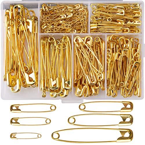 LUTER 250 Stück Gold Sicherheitsnadeln Groß und Klein Sicherheitsnadeln Langlebig, Rostbeständig für Kunsthandwerk Nähen Schmuckherstellung Heimarbeitsplatz